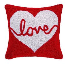 "Love Heart Hook Pillow Polyfill 14"" x 14"""