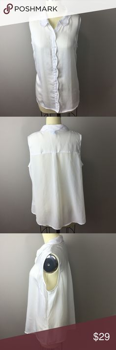 "Nanette Lepore L'Amour White Sleeveless Top XL 100% polyester button down with scalloped edge details. 42"" bust, 26"" length. Excellent condition. A72 Nanette Lepore Tops Button Down Shirts"