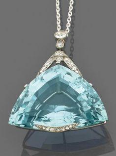 aquamarine and diamond pendant, circa 1910