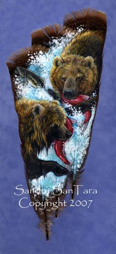 Dinner for Two -- Brown Bear and Salmon feather print