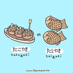 "Hello fellow Japanlovers! It's Tabemono Tournament time again~!! ⌒∇⌒ This time, it's Takoyaki たこやき versus Taiyaki たいやき! ☆ Tabemo-notes: ☆ - ""Yaki"" is derived from""Yaku"", which means to be cooked or grilled in a pan or an oven. - Taiyaki (lit. Baked..."