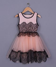 Black & Pink Lace Dress - Toddler & Girls