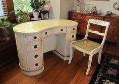 Vintage Kidney Shaped Desk/Vanity with a Glass top & Chair