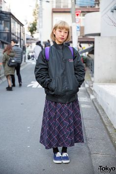Plaid Maxi Skirt, Supreme Backpack & Canvas Sneakers in Harajuku (Tokyo Fashion, 2015)