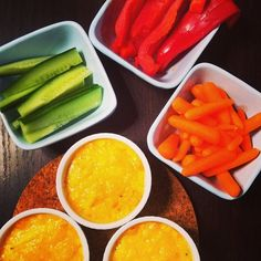 "Love this - would be great for entertaining! ""Snack time: hot cauliflower and cheddar dip with crudités. (Individual ramekins mean you can double dip. Sugar Free Recipes, Yummy Recipes, Cooking Recipes, Yummy Food, Canadian Cheese, Cooking Cheese, How To Make Cheese, Simple Pleasures, Cheddar"
