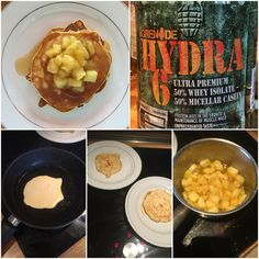 To my #pancake #batter, I add a scoop of #Grenade #Hydra6 #KillaVanilla #proteinpowder for extra #protein, and #vanilla flavour. I also turned a lone #cookingapple in my fridge into a cinnamon-infused #apple #topping. #awesome #breakfast #brunch #cook #cooking #delicious #eatright #food #food4gods #goodmorning #hollandandbarrett #pancakes #musclefood #nutrition