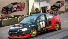 ADVAN Rally Cross Car Mitsubishi Lancer Evolution X Free Paper Model Download