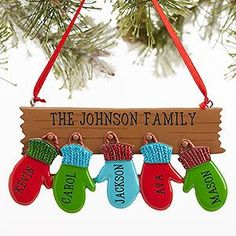 Personalize your Christmas tree with this decorative Personalized Family Ornament With 5 Names - Warm Mitten. Find the best personalized Christmas ornaments at PersonalizationMall.com