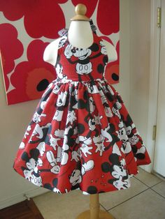 Custom Made to Order Disney Mickey Mouse party dress Sz12m to 6T