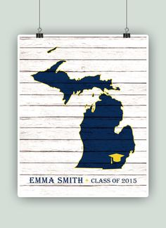 Michigan art print PERSONALIZED Graduation Gift by PrintCorner