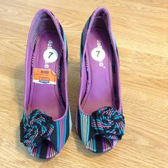 """HP 2/29/16  Leap Year HP!  Fabric covered. Black ,purple & teal primary colors. 4"""" heels Dollhouse Shoes Heels"""