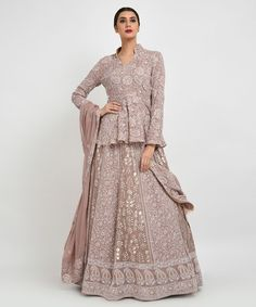 Bridal Heritage Collection, this is a beautiful Hazelnut Pure Georgette intricate Chikankari hand embroidered lehenga outfit embellished with hand embroidered gold gota patti. The lehenga skirt has floral chikankari all over and embelli Indian Lehenga, Indian Gowns, Lehenga Choli, Lehenga Skirt, Bridal Lehenga, Indian Wear, Sharara, Lehnga Dress, Jacket Lehenga