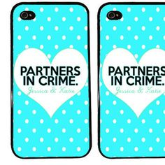 BFF Case / Partners in Crime PERSONALIZED iPhone 4 Case Best Friends iPhone 5 Case iPhone 4S Case iPhone 5S Case One For Your BFF Set Phone