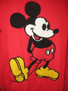 Disney Mickey Mouse Sweater XL Red Sweater Womens NWT Kohl's Retail $48 NEW #Disney #Sweater #everyday
