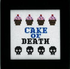 PATTERN - Eddie Izzard - Cake or Death Cross Stitch. Maybe a gift for @Julia Lillienthal Kehlet ;-)