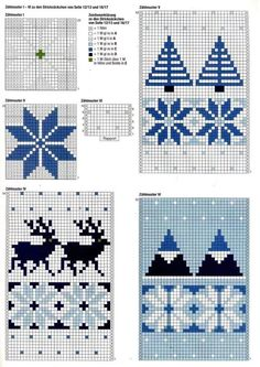 Anna 2012 № 11 4 Anna 2012 № these Christmas knitting charts are at the back of the magazine. Some super ideas in the whole mag tho'. Knitted Mittens Pattern, Fair Isle Knitting Patterns, Knitting Charts, Knitting Stitches, Knitted Hats, Crochet Patterns, Crochet Hats, Hat Patterns, Crochet Christmas Ornaments