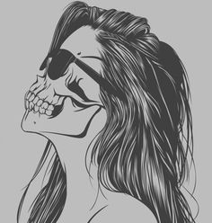 paintings with women wearing sunglasses | girl skull skeleton bone skull face