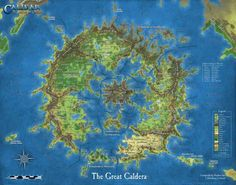 """CAL1GC """"The Great Caldera"""" Poster Map.  Cartography by Thorfinn Tait"""