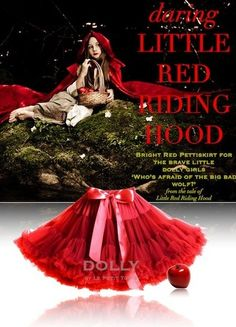 Pettiskirt Red: Little red riding hood Dolly by Le Petit Tom ® Ballet Bag, Chiffon Skirt, Red Riding Hood, Little Red, Everyday Fashion, Kids Fashion, Girl Outfits, Dress Up, Retro