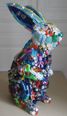 Saatchi Art: Rabbit Rabbit Sculpture by Robert Bradford Recycled Toys, Recycled Art Projects, Recycled Crafts, Art From Recycled Materials, Recycling Projects, Rabbit Sculpture, Sculpture Art, Sculpture Projects, Sculpture Ideas