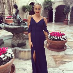 ASOS Button Down Slit Navy Gown Chiffon, beautiful navy gown with a slit up the front. Worn Once UK sz 6. fits like a US 4 ASOS Dresses Maxi