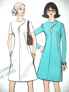 Uncut Vogue Vintage Dress Sewing Pattern Semi-fitted a-line dress pattern. See photo for full description. Bust 34 inches Hip 36 Pattern is uncut, complete with all pieces and instructions. See photos for envelope condition. 60 Fashion, Fashion History, Retro Fashion, Vintage Fashion, Fashion Design, Dress Sewing Patterns, Vintage Sewing Patterns, Vintage Dresses, Vintage Outfits