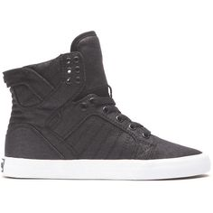 Supra Women's Skytop Athletic ($84) ❤ liked on Polyvore featuring shoes, black, synthetic shoes, cushioned shoes, supra high tops, black shoes and black hi tops