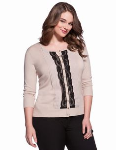 love the nude cardi with black lace detail. Would be super cute with a black pencil skirt and black tights. #plussize