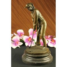 ON SALE !!! Female Golfer Real Bronze Statue/Sculpture Figurine...Without A Soul In Sight, Without A Single Thought In Her Head, A Golfer Concentrates Profusely On Nothing More Than Her Golf Ball And The Hole That Is Waiting To Receive It. Holding Her Golf Club Tight And Close To Her Body As If It Were Her Child, She Lays Her Dreams And Happiness On This Final Putt To Victory. The Handmade Bronze Sculpture Was Cast Using The Archaic Method Of Lost-Wax Casting And Stained With A Brown ...