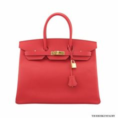 This new, red Jane Birkin bag is striking! This exceptional, vibrant color is finished with gold hardware and the flat grain of Epsom. The rouge casque Birkin is simple yet luxurious–be a show-stopper with this popular beauty!?