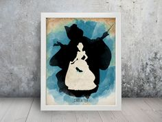 Cinderella Poster #1 Watercolor Minimalist Print Silhouette Poster Home Decor Art Disney Princess Glass Slipper Fairy Godmother  ✧✦✶ BUY 2 GET 3rd
