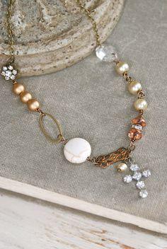 Cora. bohemian beaded rhinestone charm necklace. by tiedupmemories