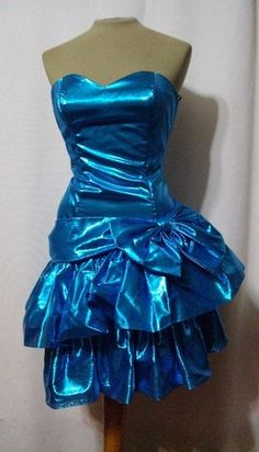 Vintage Dress 80s Ruffle Strapless Party Bow Metallic Blue B32 s Prom Electric | eBay