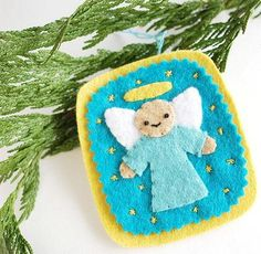 Embroidered Angel Felt Ornament | Let this angel DIY ornament sing to your Christmas tree this year.