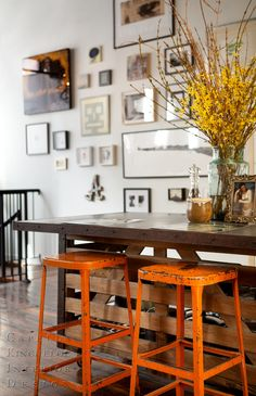 Capella Kincheloe Design. Distressed Tangerine Metal Barstools <3