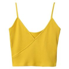 Ribbed Surplice Cropped Cami Tank Top Yellow ❤ liked on Polyvore featuring tops, cami tank, yellow crop top, cross over crop top, cropped tops and camisole tank top