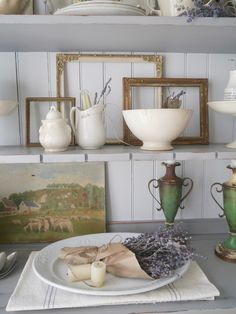 Chateau Chic: Styling the Dining Room Hutch For Fall Fall Vignettes, Dining Room Hutch, Wood Siding, Maine House, Cottage Style, Decoration, Fall Decor, Ceiling Lights, Chic