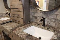 33 Shades Of Green Lakehouse Home Tour Fantasy Brown Granite Vanity Benchtop Bathrooms