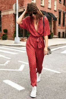 red jumpsuit and white converse street style #jumpsuit #streetstyle #styleideas #spring #Summer