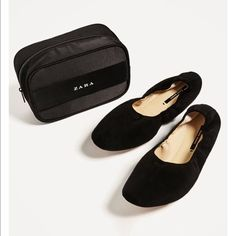 Bnwt | Zara Women | Goat Leather | Slides With Bag