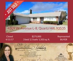 SOLD! Looking to move? Let me help you with your real estate needs! Contact me at (661) 219-5517 or michellejuddrealestate@gmail.com   #sold #realestate #realty #quartzhill #palmdale #lancaster #AV #antelopevalley #happybuyer #michellejudd #michellejuddrealestate