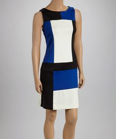 Take a look at this Shelby & Palmer Black & Royal Color Block Sleeveless Dress on zulily today!