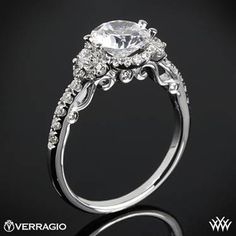 18k Rose Gold Verragio INS-7049D Double French-Set Halo 3 Stone Engagement Ring