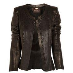 Roberto Cavalli Leather and snakeskin jacket - Polyvore