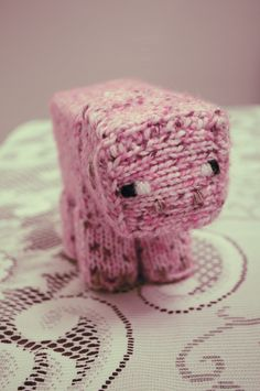 Knitted minecraft pig