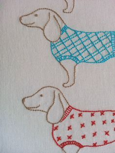 Ric-Rac: Moving on - free sausage dog embroidery pattern