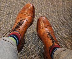 Brown Allen Edmonds Strand Striped Socks