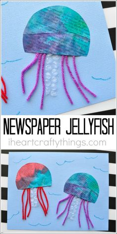 This colorful painted newspaper jellyfish craft is a perfect summer craft to make with the kids after visiting your local aquarium this summer. Fun ocean craft for kids, preschool craft, summer kids craft, recycled kids craft and craft made from recyclables.