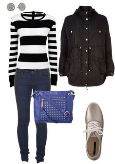 My Wardrobe and #ootd - rainy day outfit and sweater weather :) skinnies, striped sweater, rain anorak waterproof jacket, metallic canvas sneakers #style #casual