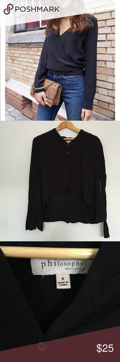 Steal the Look Philosophy Black Popover Blouse Sexy Black Popover Blouse by Philosophy. Hi-Ko. Excellent condition. No holes or stains. Philosophy Tops Blouses